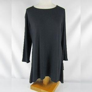 Alfani Size 0X 3/4 Sleeve Knit Tunic Top Black NWT